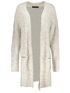vmhelen ls long open cardigan 10183094 vero moda vest light grey melange / with snow