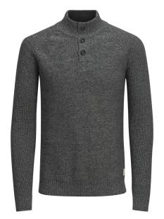 jjvharris knit high neck granddad 12127568 jack & jones trui dark grey