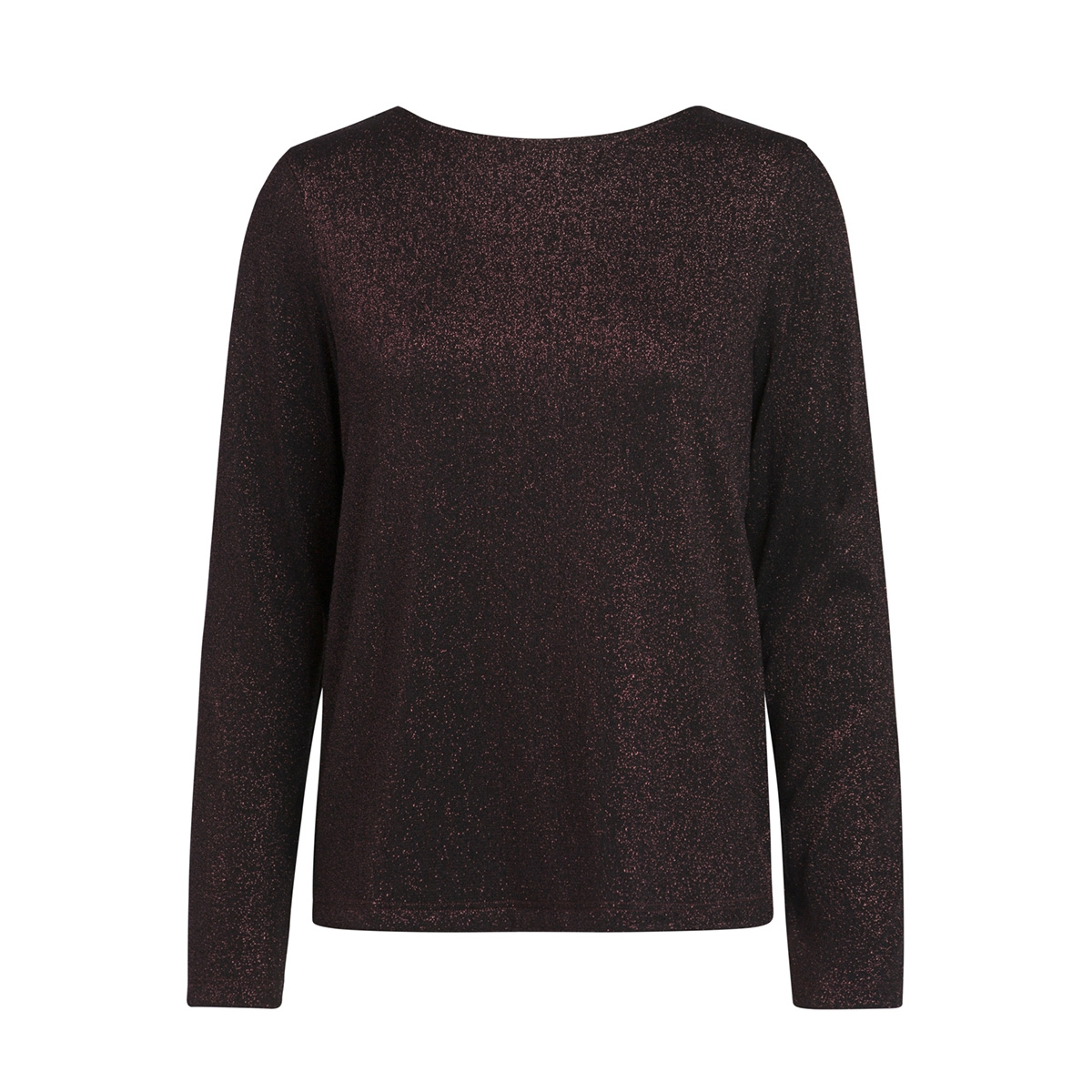 pcannabella ls glitter deep back tee 17086176 pieces trui black/burgundy l