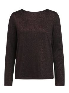 Pieces Trui PCANNABELLA LS GLITTER DEEP BACK TEE 17086176 Black/BURGUNDY L