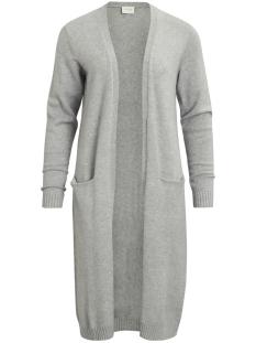 viril l/s long knit cardigan-noos 14042770 vila vest light grey melange