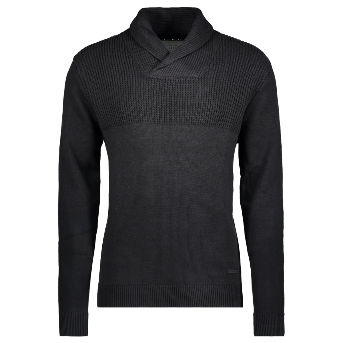 jcolive knit shawl neck 12120434 jack & jones trui black