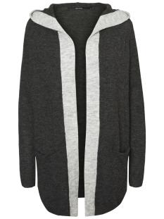 vmlinber ls hood cardigan lcs 10185057 vero moda vest dark grey melange