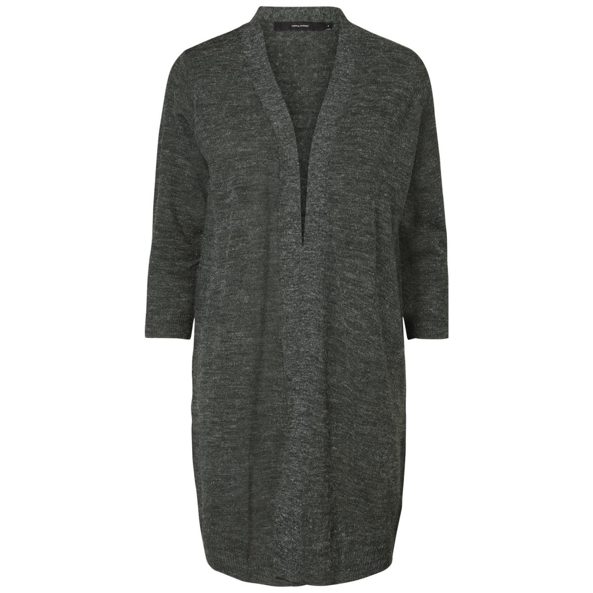vmclementine copenhagen 3/4 open cardigan 10157573 vero moda vest dark grey melange