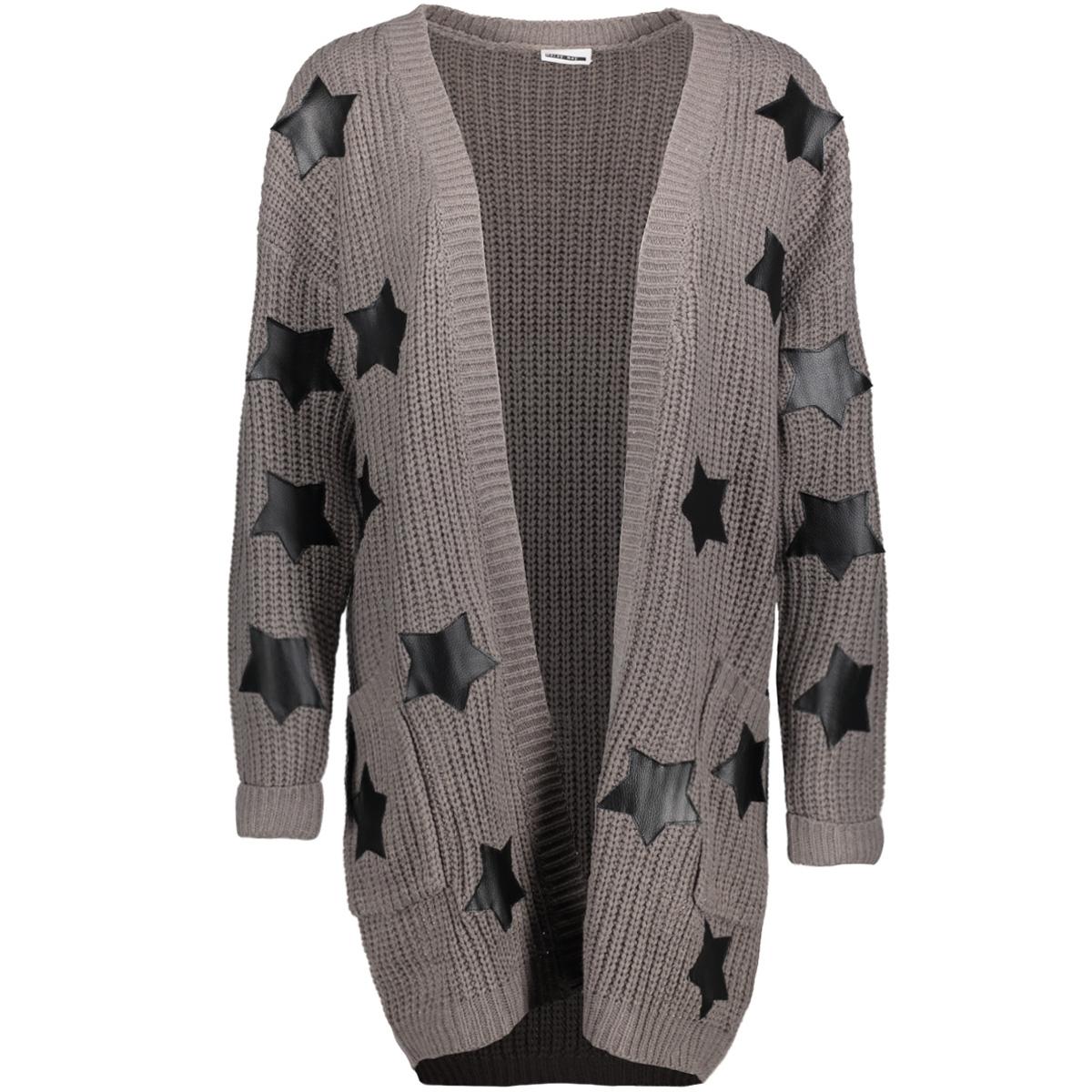 nmsane l/s knit cardigan 8 27000232 noisy may vest medium grey mel / black star