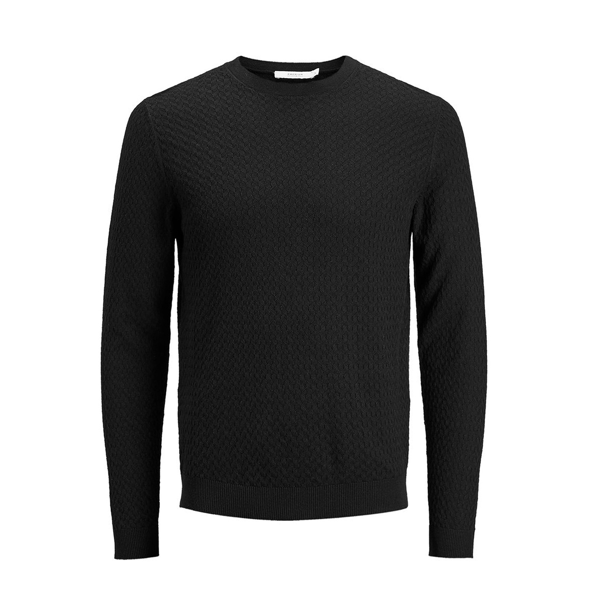 jpremil knit crew neck 12129541 jack & jones trui black