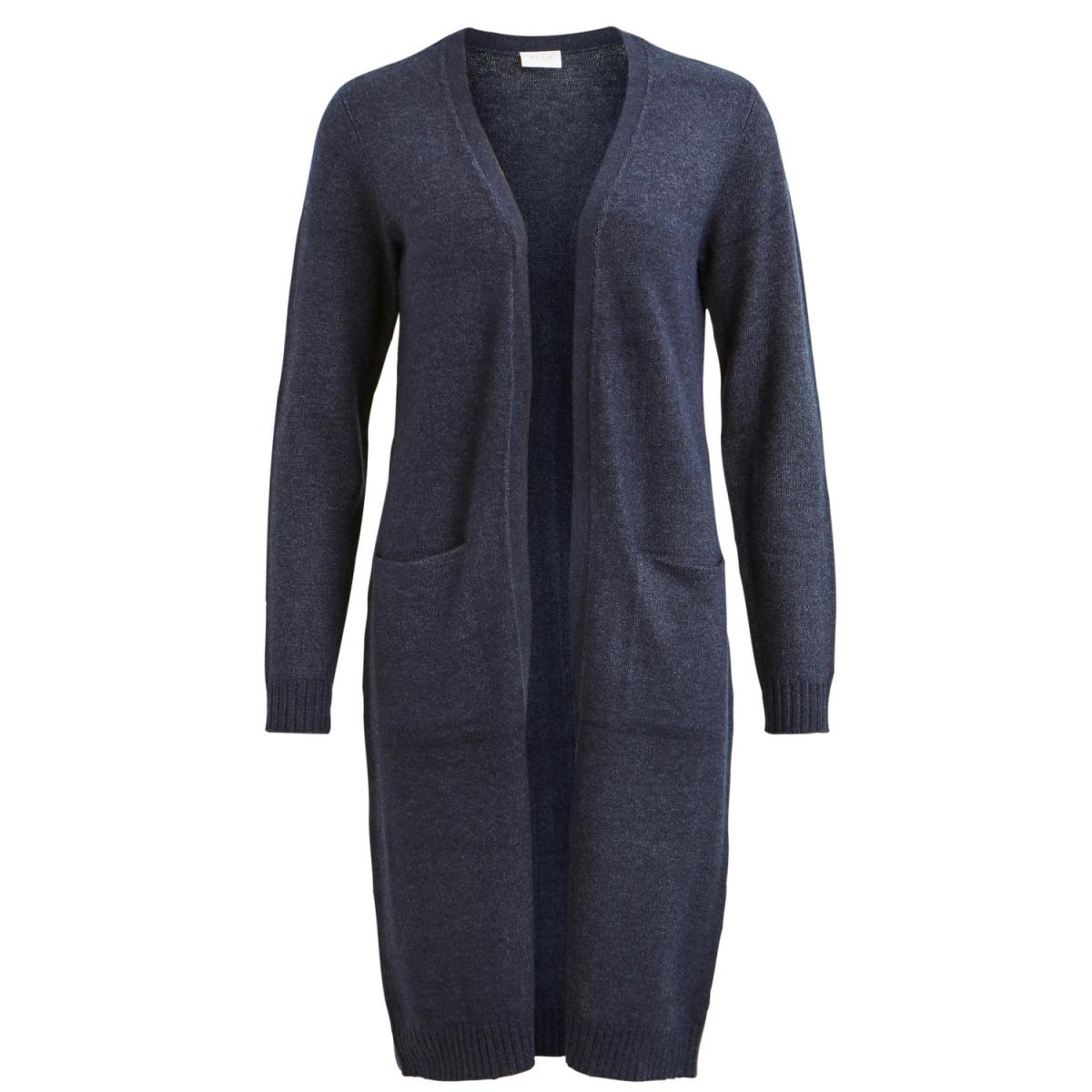 viril l/s long knit cardigan-noos 14042770 vila vest total eclipse / melange