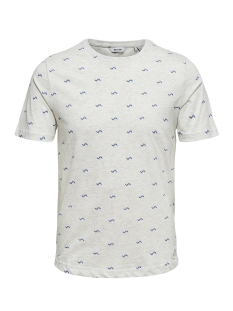 Only & Sons T-shirt onsSEBASTIAN AOP SS TEE 22009215 Oatmeal