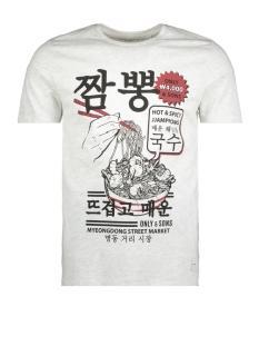 onssylvester ss tee 22009242 only & sons t-shirt white melange