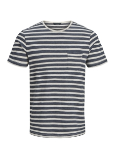 Jack & Jones T-shirt JPRJED STRIPE TEE SS CREW NECK 12133880 White Melange