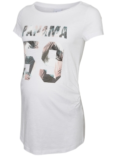 Mama-Licious Positie shirt MLIMAN S/S JERSEY TOP A. V. 20008421 Bright White/FRONTPRINT