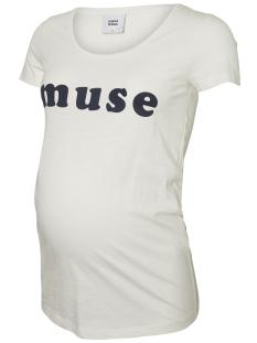 Mama-Licious Positie shirt MLFEMME SS JERSEY TOP A. V 20008594 Brioght White/BLACK IRIS