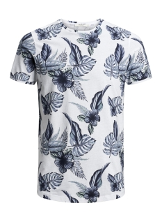 Jack & Jones T-shirt JPRQUINZY SS TEE CREW NECK  12140932 White/Navy AOP