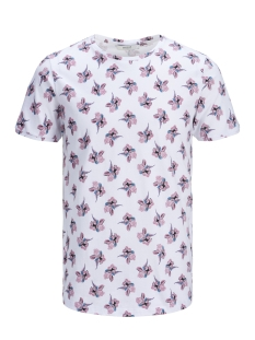 Jack & Jones T-shirt JPRQUINZY SS TEE CREW NECK 12140932 White/Lilas AOP