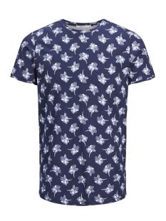 Jack & Jones T-shirt JPRQUINZY SS TEE CREW NECK 12140932 Navy Blazer/White AOP