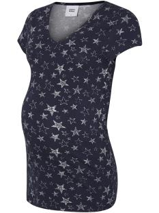 Mama-Licious Positie shirt MLGUDRUN S/S JERSEY TOP 20008116 Black Iris/SNOW WHITE