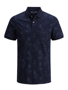 Jack & Jones Polo JPRWINSTON SUMMER AOP SS POLO 12137084 Navy Blazer