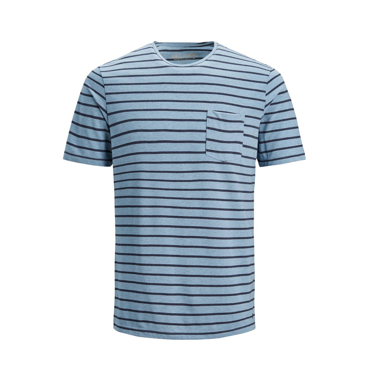 jprocean stripe tee ss crew neck 12136479 jack & jones t-shirt faded denim