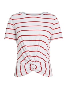 Pieces T-shirt PCELEGANCE SS TEE D2D PB 17093936 Bright White/FLAME SCARLET