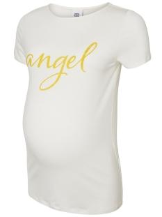 Mama-Licious Positie shirt MLAGNES PETIT S/S JERSEY TOP A. 20008792 Snow White/LEMON CURR