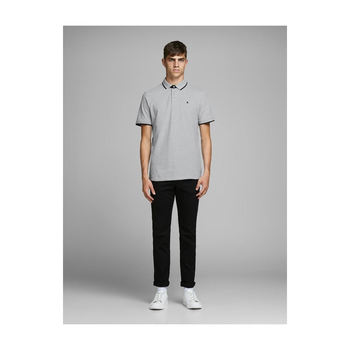 jjepaulos polo ss noos 12136668 jack & jones polo light grey melange