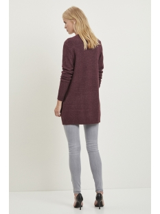 viril l/s  open knit cardigan-noos 14044041 vila vest winetasting/melange