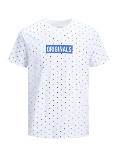 Jack & Jones T-shirt JORPOLKA TEE SS CREW NECK 12148332 White/SLIM FIT