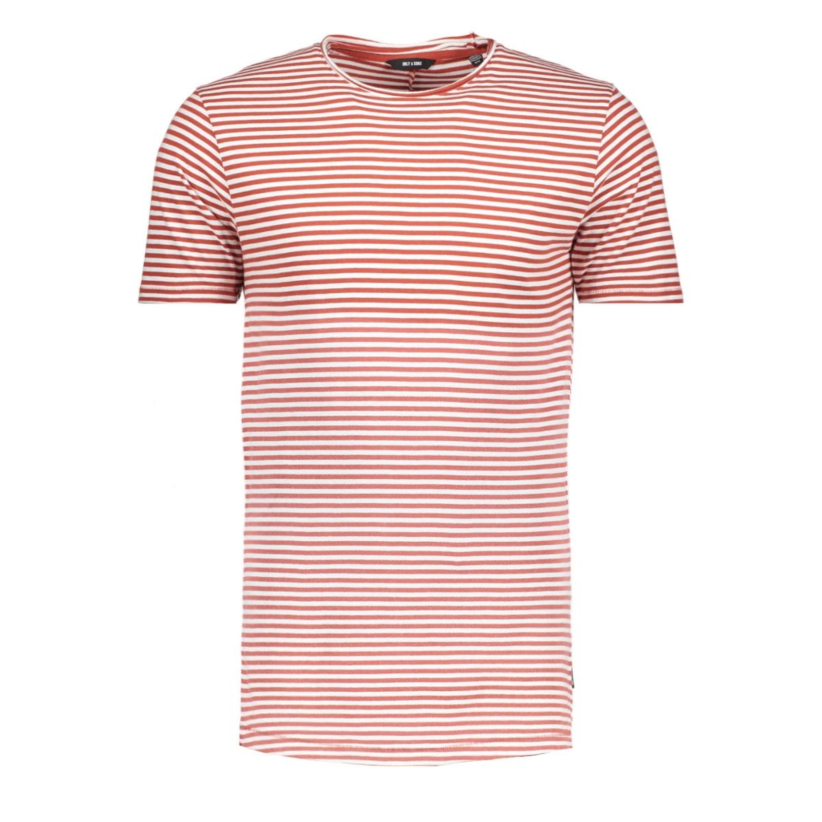 onshanson bleached striped tee 22011588 only & sons t-shirt cloud dancer/bossa nova