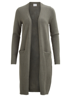 viril l/s long knit cardigan-noos 14042770 vila vest castor gray/melange