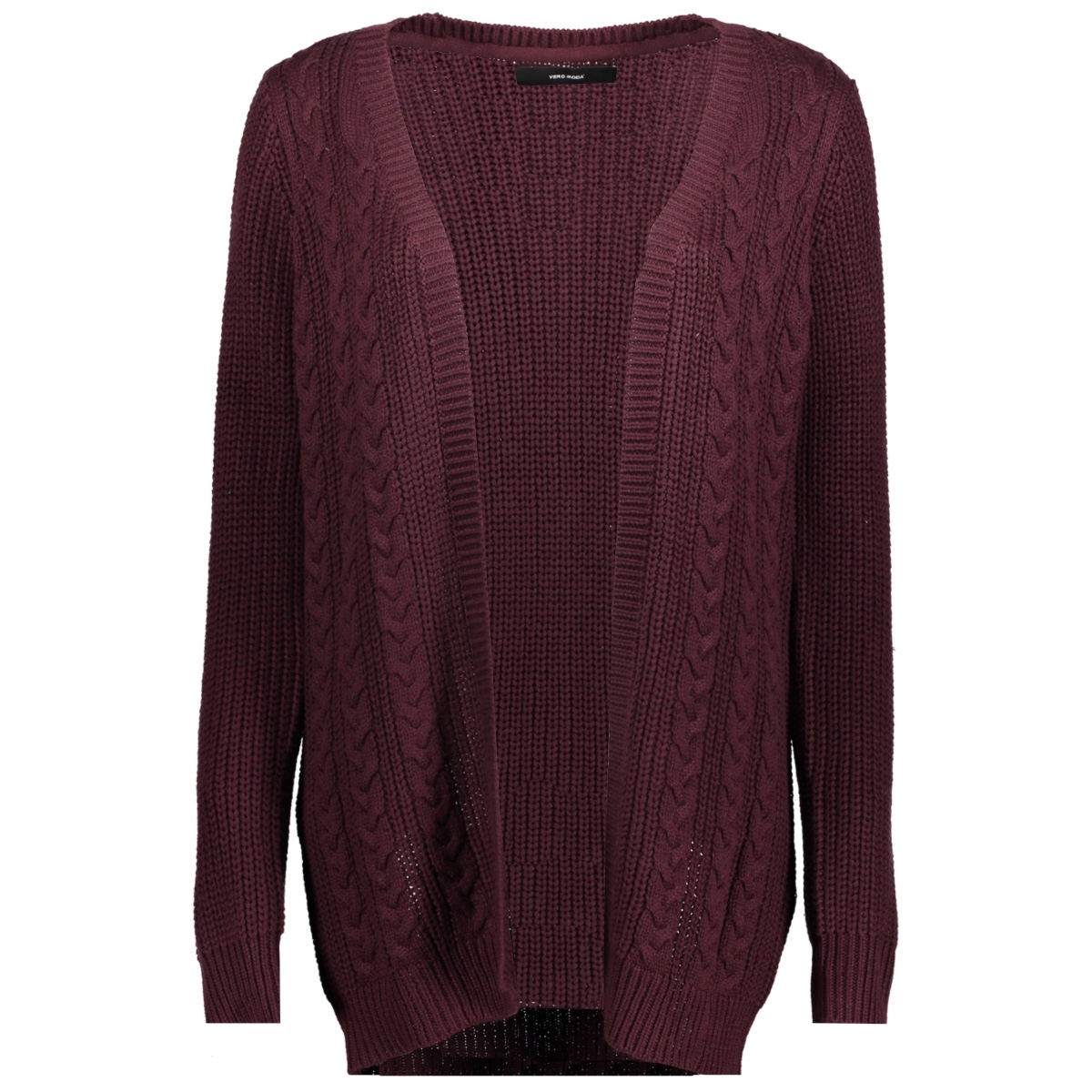 vmsigne cable ls cardigan 10204798 vero moda vest winetasting/silver met