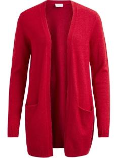 viril l/s  open knit cardigan-fav 14044095 vila vest racing red/melange