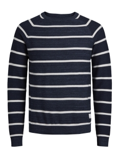 Jack & Jones Trui JCOFRESNO KNIT CREW NECK 12142850 Blue Denim/WHITE-KN