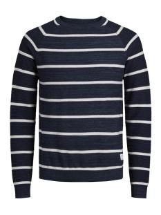 jcofresno knit crew neck 12142850 jack & jones trui blue denim/white-kn