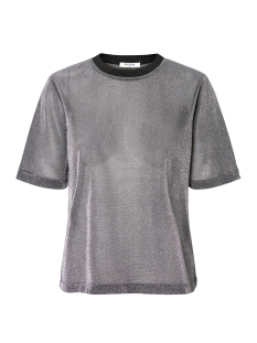 Pieces T-shirt PCLUA SS TOP CAMP 17094850 Silver Colour/LUREX
