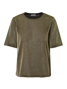Pieces T-shirt PCLUA SS TOP CAMP 17094850 Gold Colour/LUREX