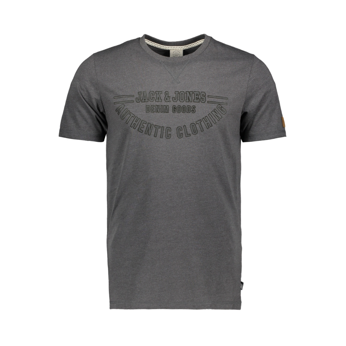 jordenver tee ss crew neck 12145919 jack & jones t-shirt dark grey melange