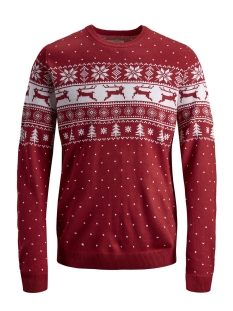 Jack & Jones Trui JORTREE KNIT CREW NECK 12146971 Scarlet Sage/KNIT FIT