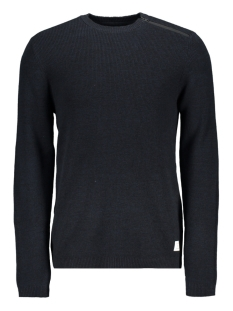jcooctavio knit crew neck 12117161 jack & jones trui sky captain/zip detail