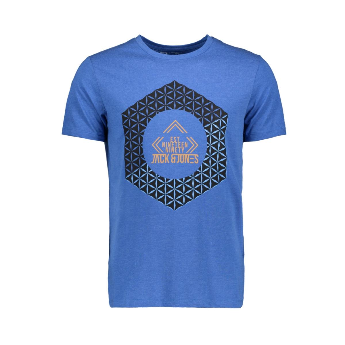 jcobooster tee ss crew neck novembe 12156027 jack & jones t-shirt classic blue/mel. slim