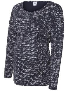 Mama-Licious Positie shirt MLKATRINA L/S JERSEY TOP O. 20009359 Navy Blazer/AOP WHITE