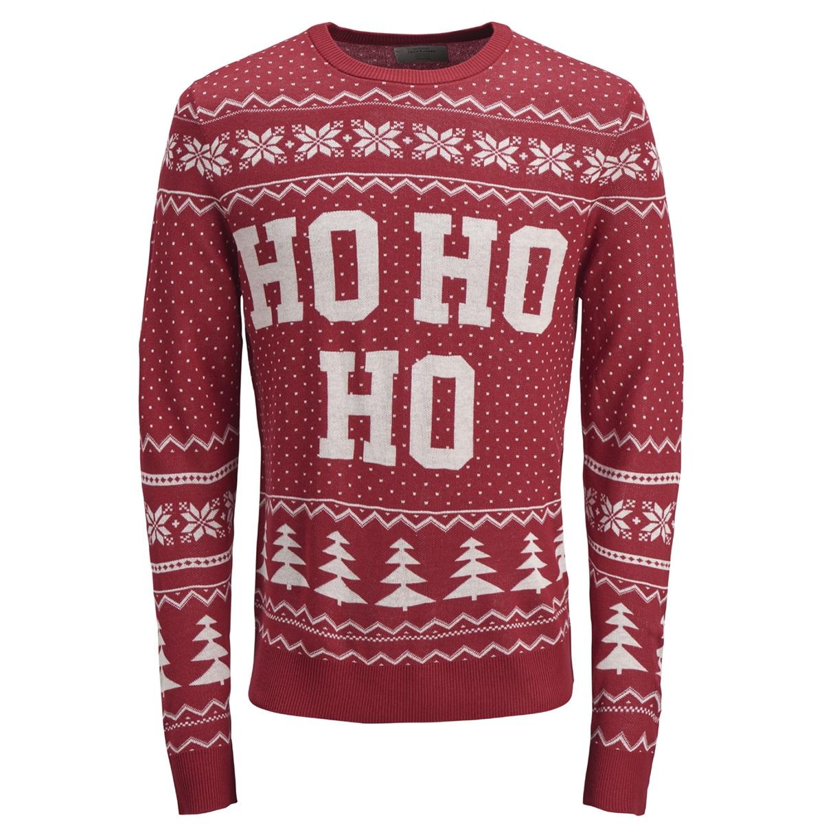 jorflake knit crew neck 12143001 jack & jones trui scarlet sage/knit fit