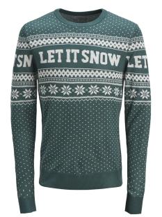 jorflake knit crew neck 12143001 jack & jones trui deep teal/knit fit