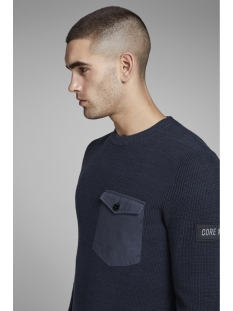jcocraft knit crew neck 12145339 jack & jones trui sky captain/knit fit