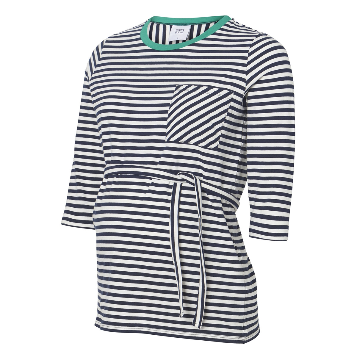 mlgina 3/4 jersey top a. v. 20009535 mama-licious positie shirt navy blazer/y/d stripe
