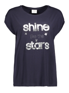 Vero Moda T-shirt VMAVA PLAIN SS TOP AOP GA 10211788 Night Sky/SHINE SILV