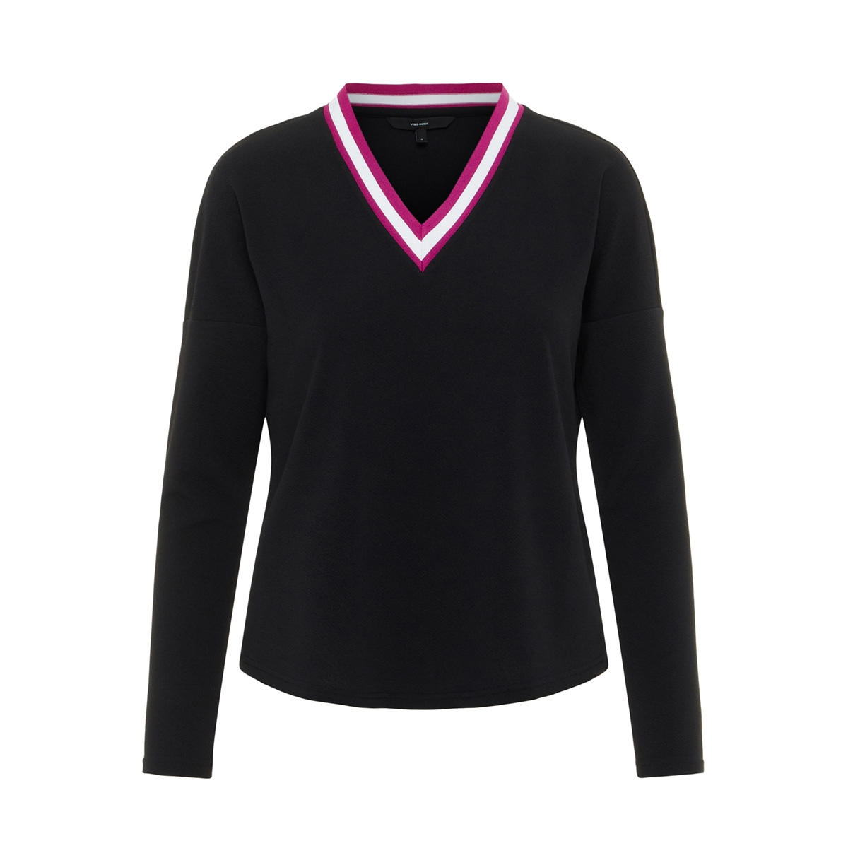 vmsira ls v-neck top 10207684 vero moda t-shirt black/tape col f