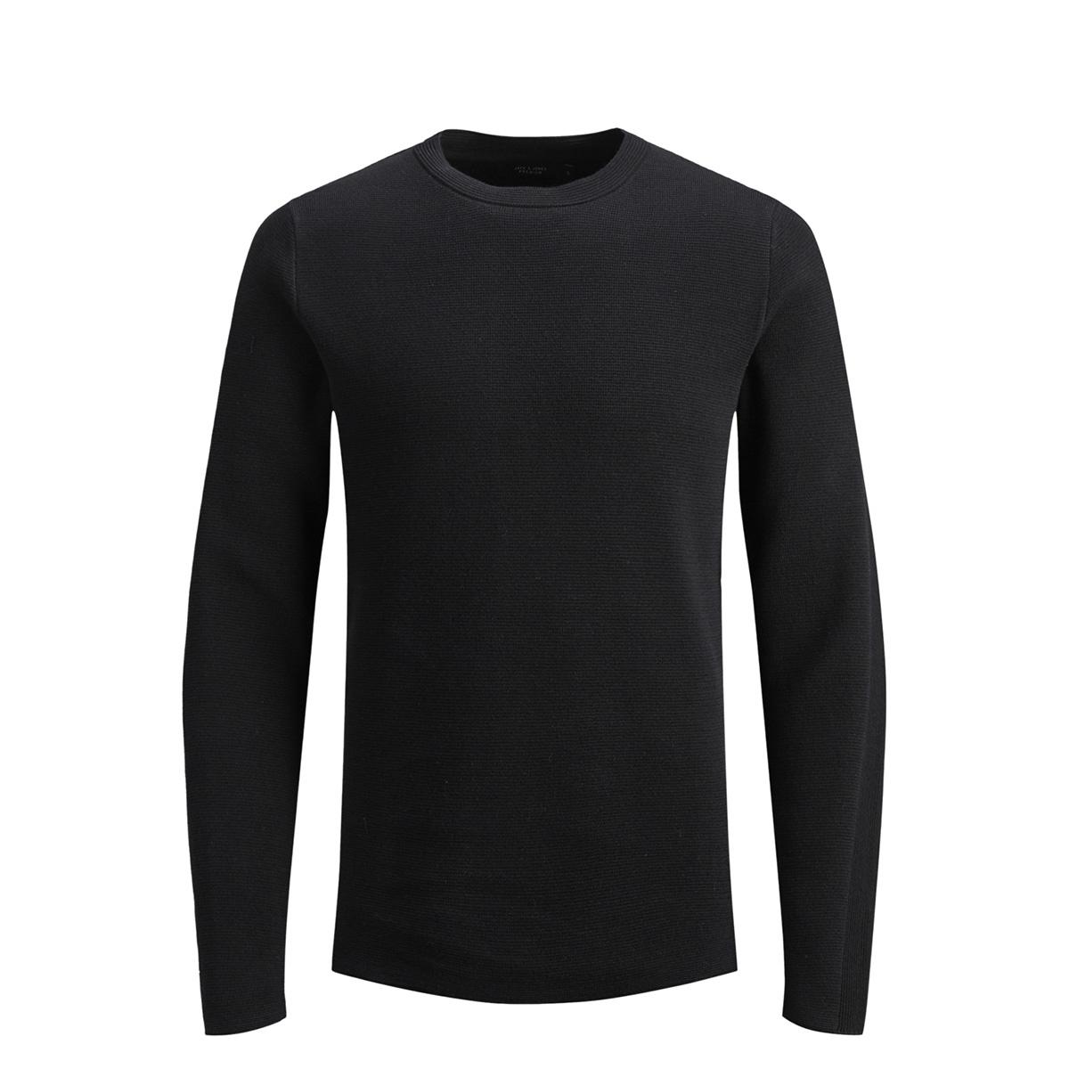 jprdean knit crew neck 12146182 jack & jones trui black