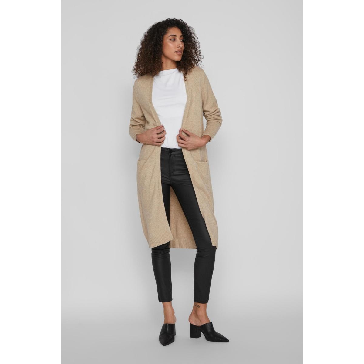 viril l/s long knit cardigan-noos 14042770 vila vest natural melange