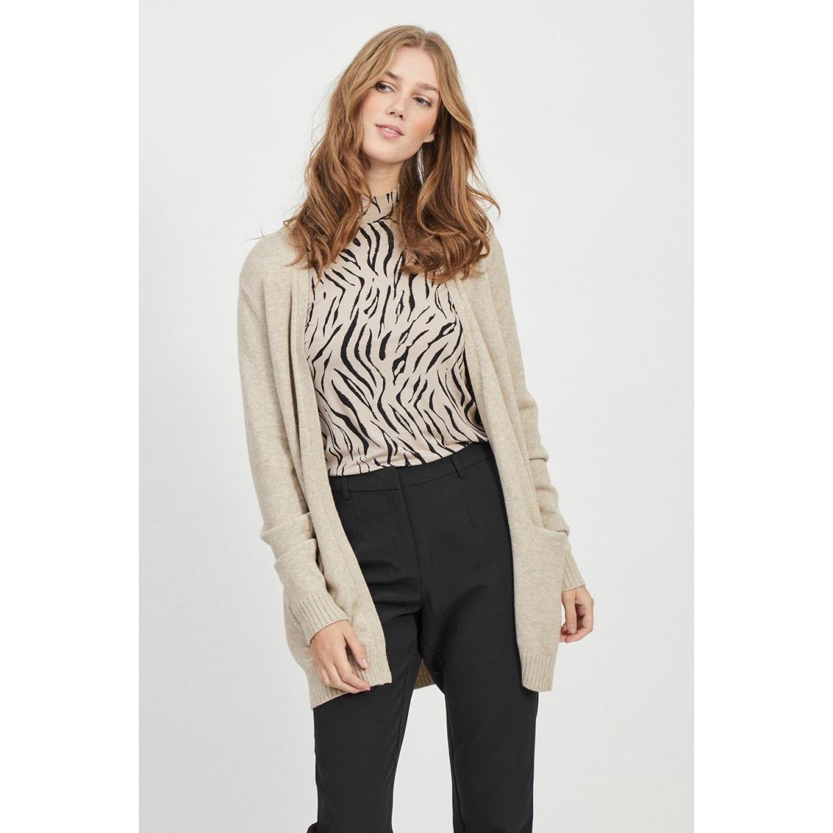 viril l/s  open knit cardigan-noos 14044041 vila vest natural melange