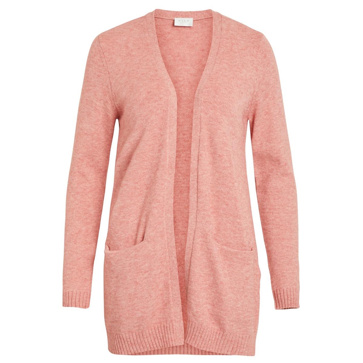 viril l/s  open knit cardigan-noos 14044041 vila vest brandie aprico/melange